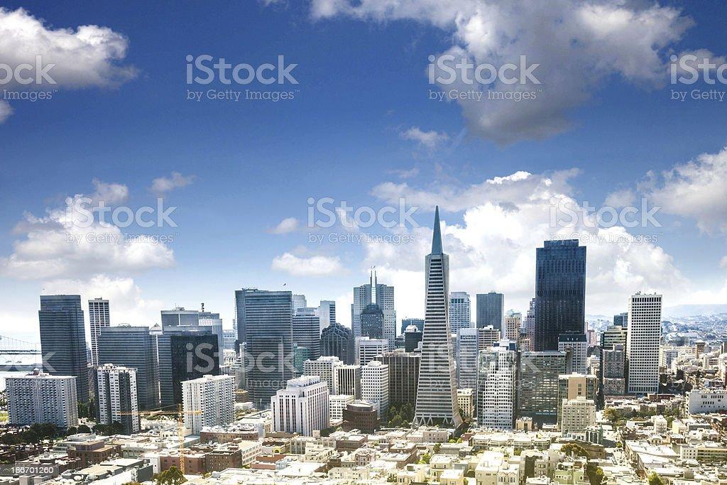 San Francisco skyline during a sunny day stock photo