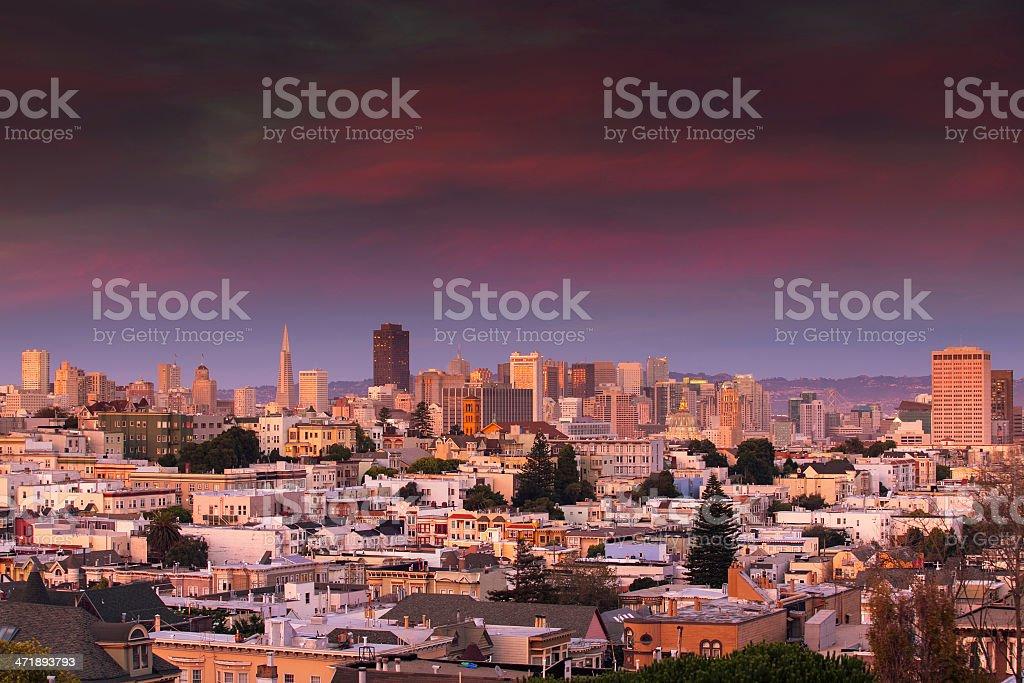 San Francisco Skyline from Haight-Ashbury royalty-free stock photo