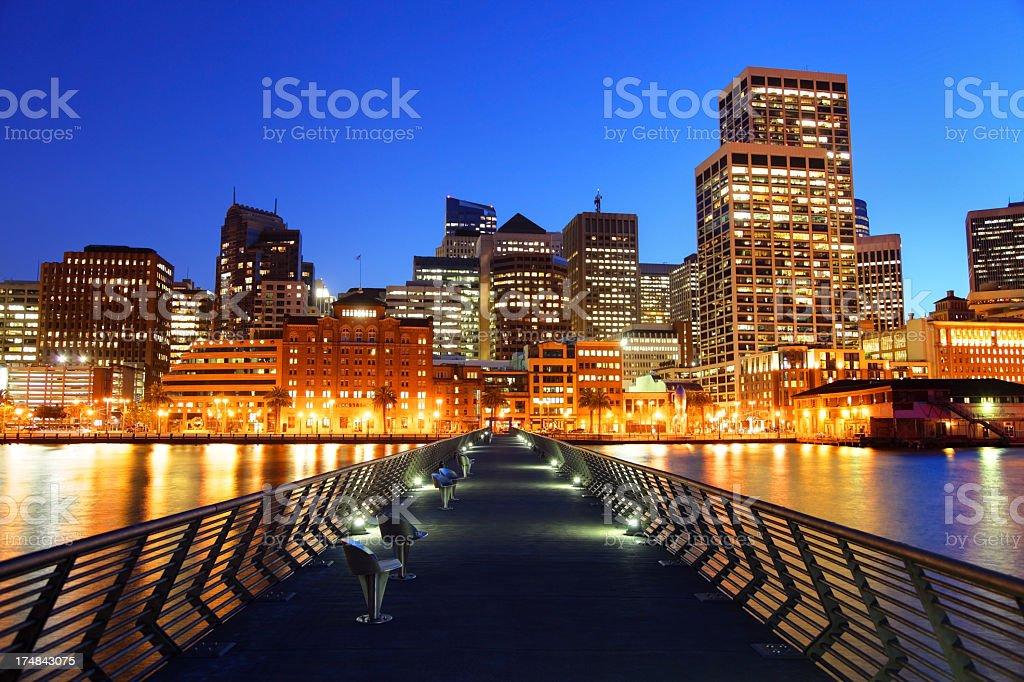 San Francisco skyline from Pier 14 royalty-free stock photo