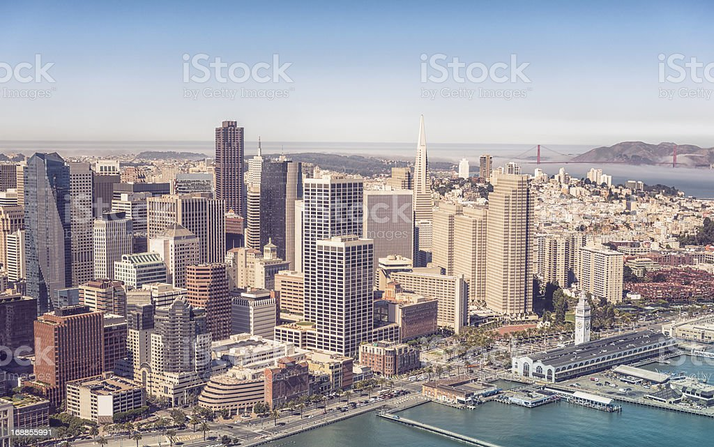 San francisco Skyline from the helicopter royalty-free stock photo