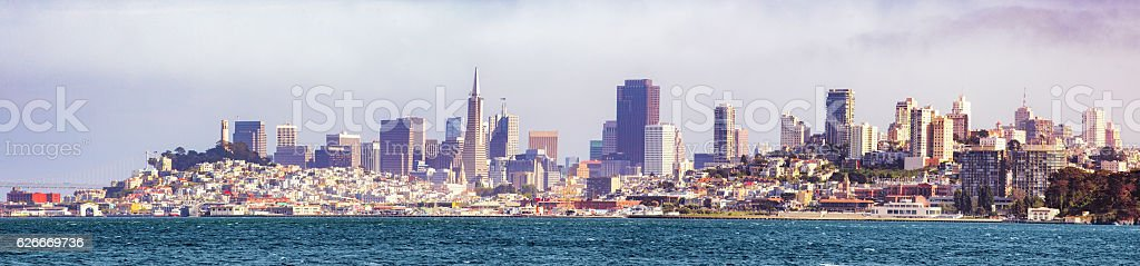 San Francisco skyline panorama from Bay on sunny day stock photo