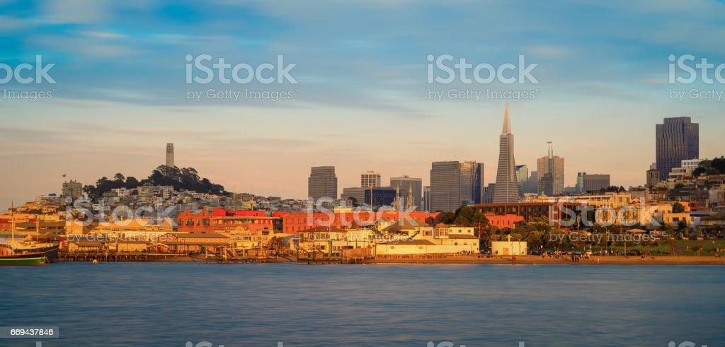 San Francisco skyline panorama from Bay stock photo