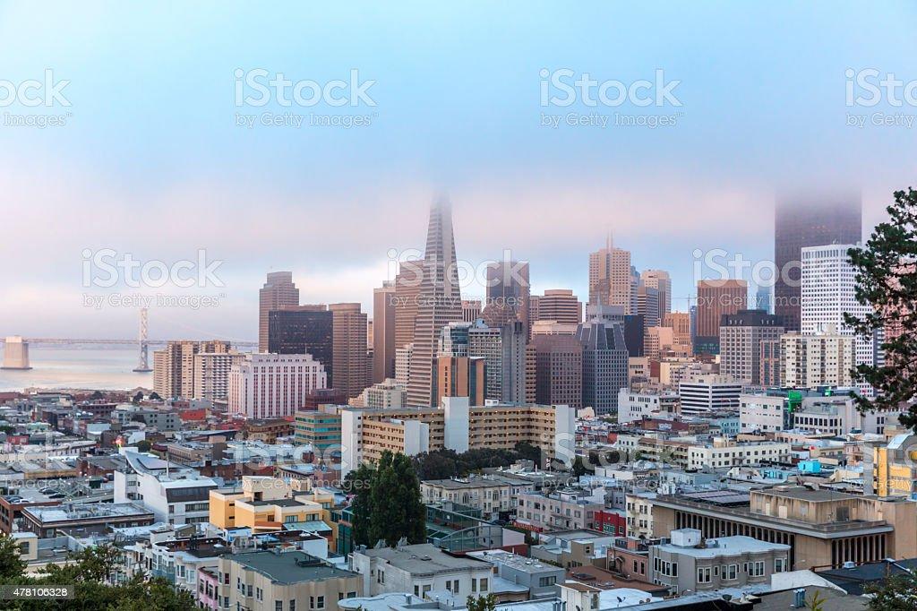 San Francisco Skyline under Low Fog stock photo
