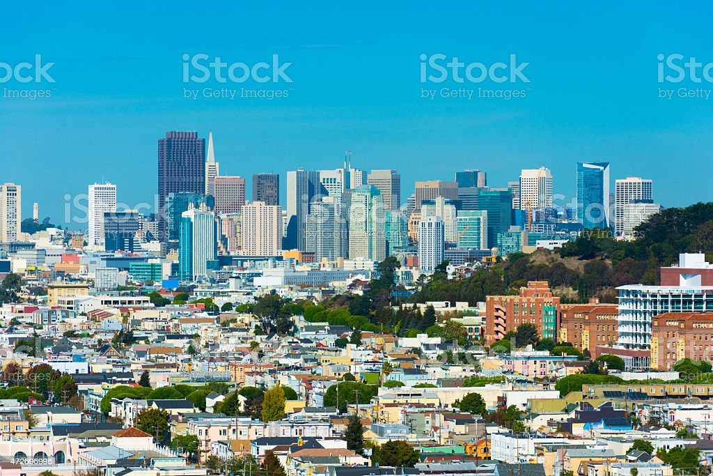 San Francisco skyline view from Bernal Heights stock photo