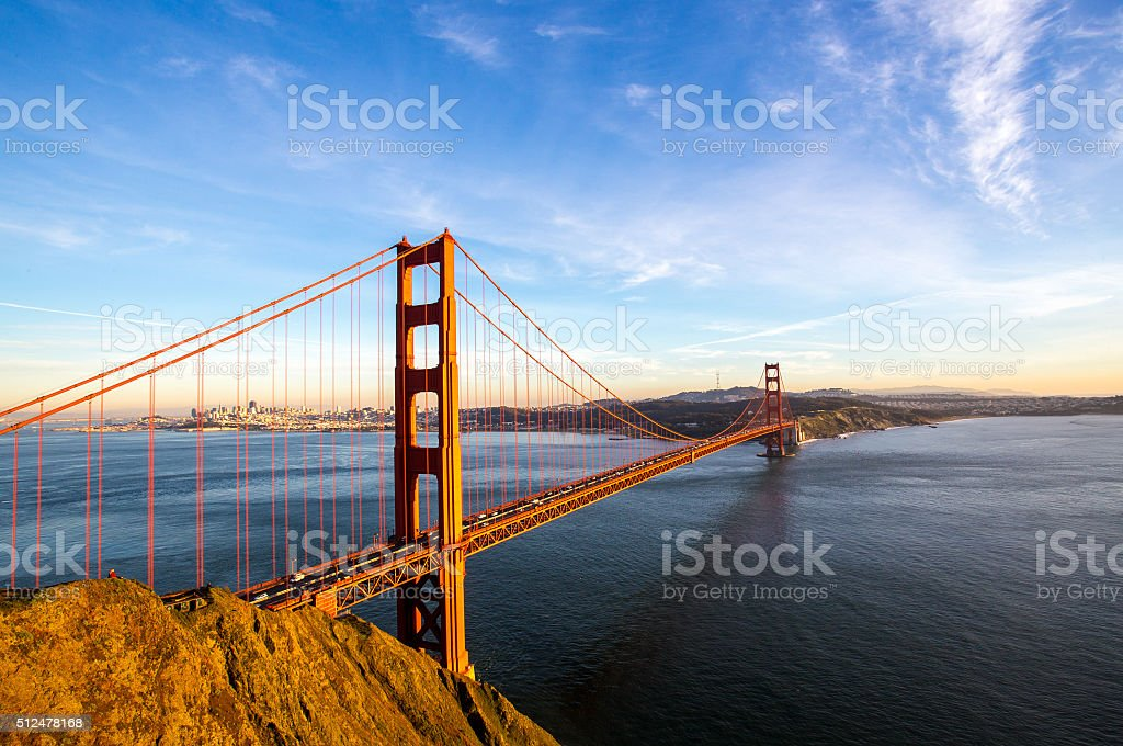 San Francisco skyline with the Golden Gate Bridge stock photo