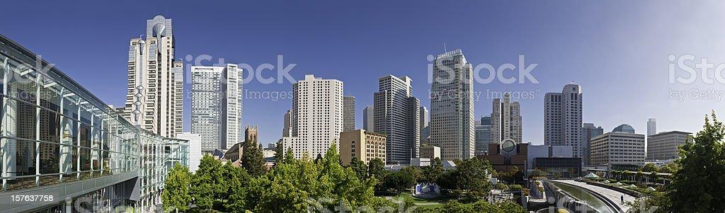 San Francisco skyscrapers downtown panorama Yerba Buena gardens plaza California stock photo