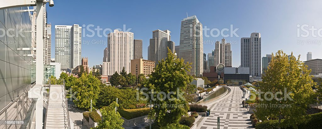 San Francisco skyscrapers Yerba Buena Gardens panorama California stock photo