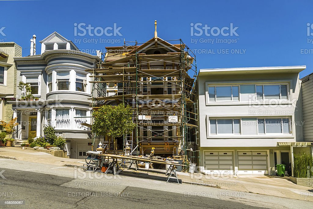 San Francisco, steep street with house in  framework royalty-free stock photo