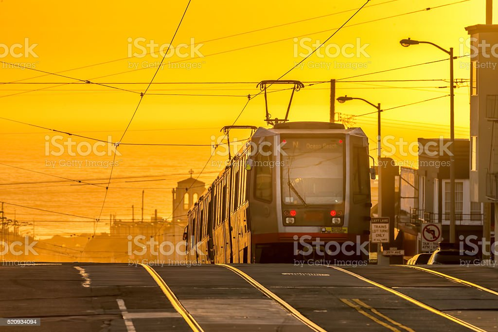 San Francisco street car at Sunset stock photo