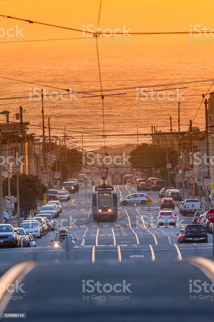 San Francisco street car at Sunset stock photo
