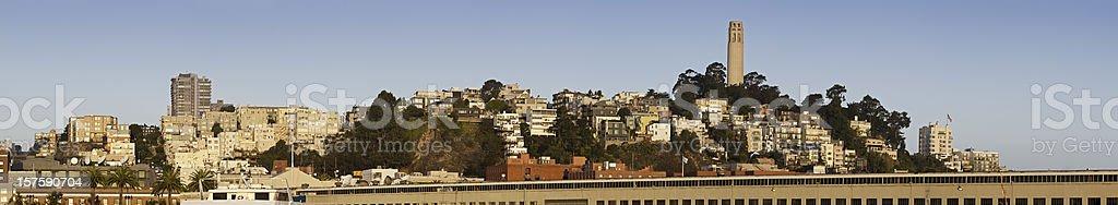 San Francisco summer sunrise panorama Coit Tower North Beach California royalty-free stock photo