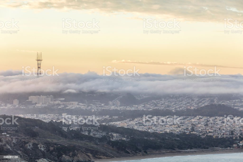 San Francisco Sunrise and Low Fog On the West Side stock photo