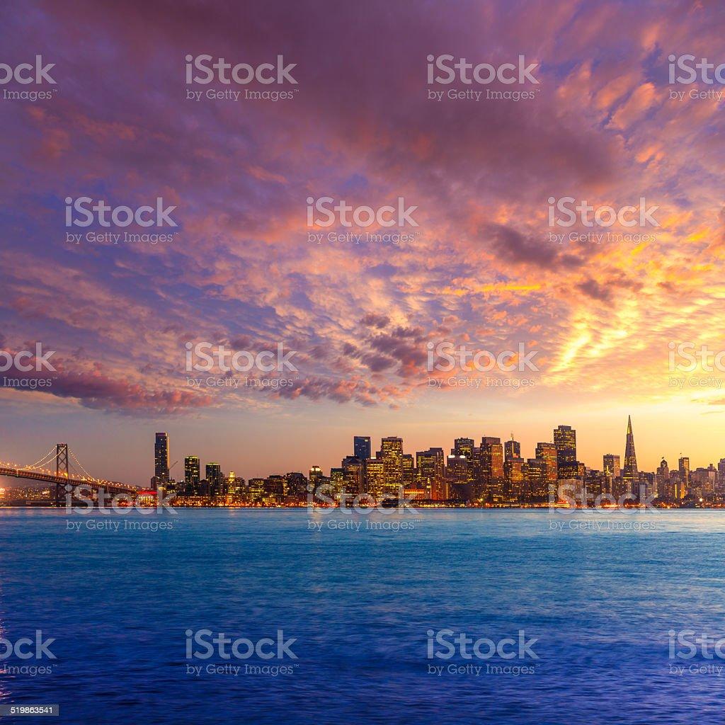 San Francisco sunset skyline California bay water reflection stock photo