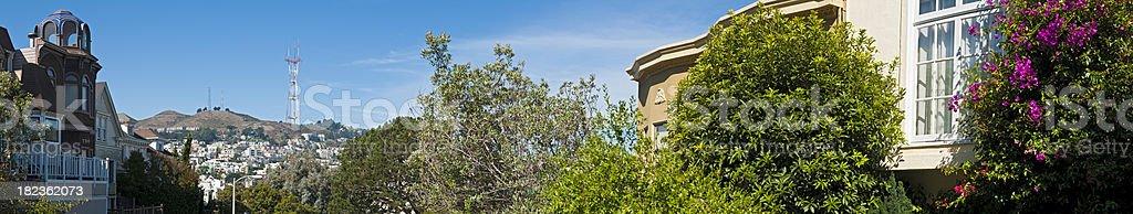 San Francisco Sutro Tower Twin Peaks panorama Castro villas California royalty-free stock photo