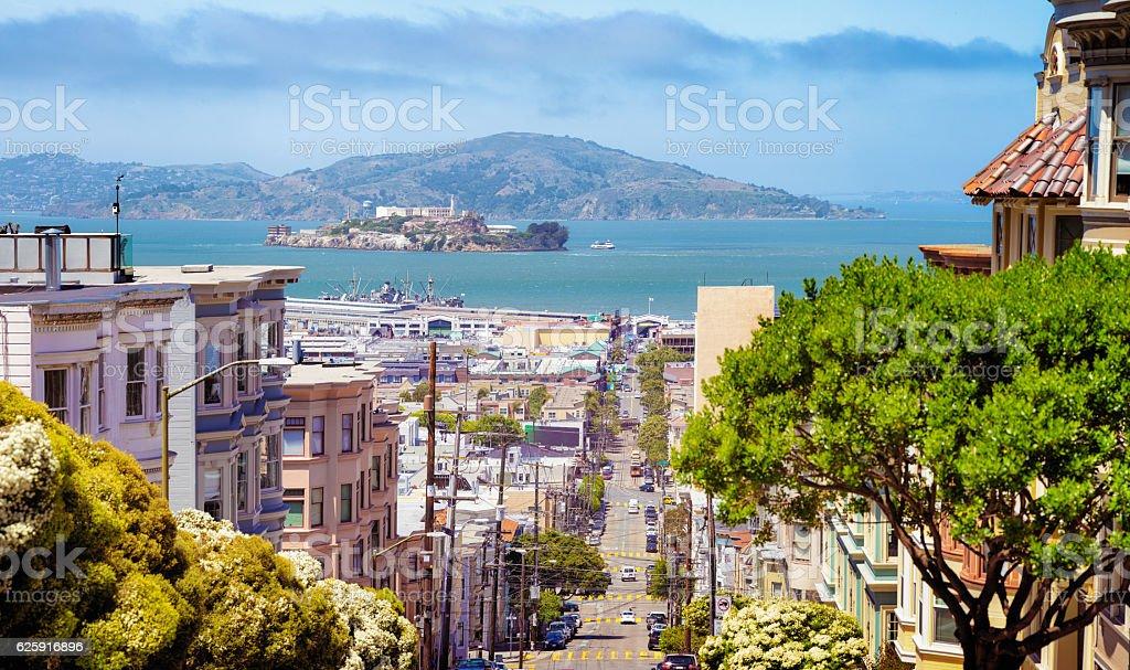 San Francisco Taylor street panorama with Bay and Alcatraz stock photo