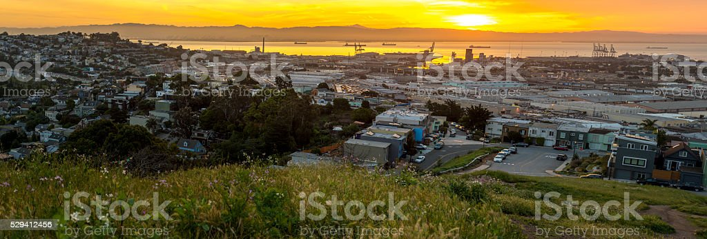 San Francisco, the Bay and industrial areas on sunrise panoramic. stock photo