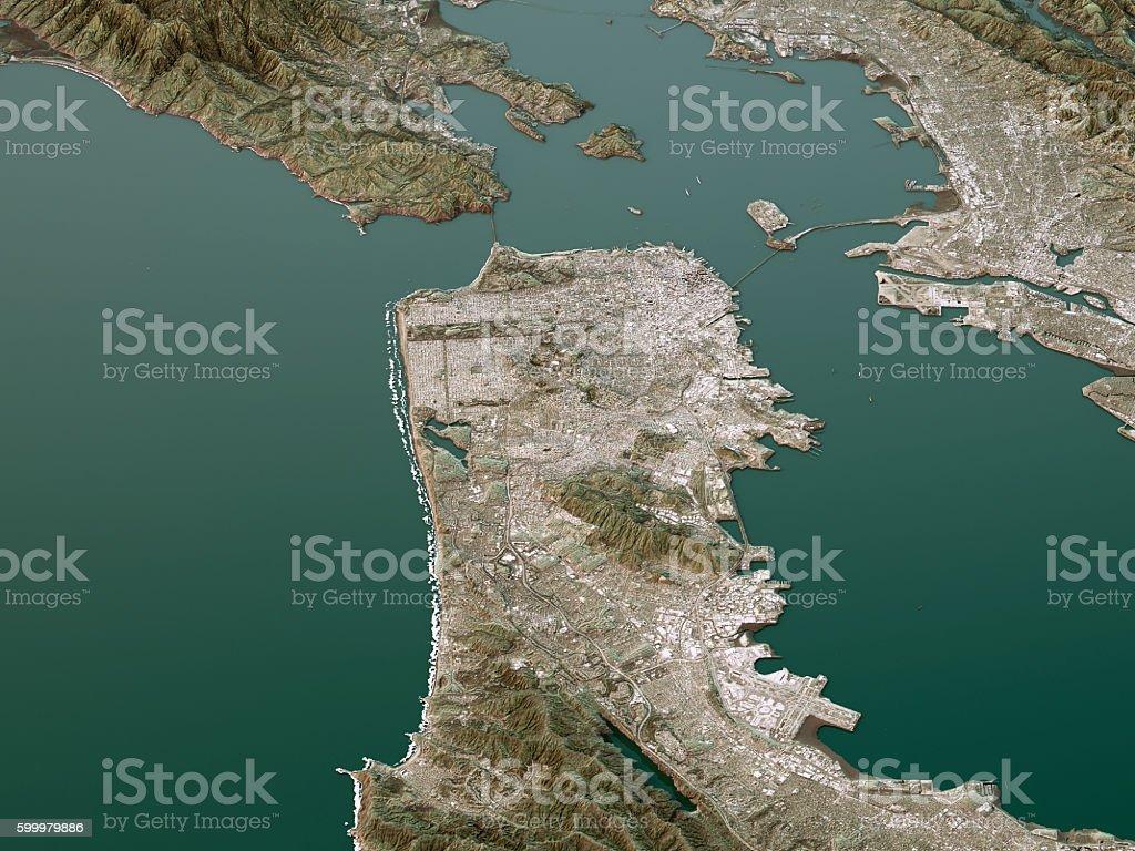 San Francisco Topographic Map 3D Landscape View Natural Color stock photo