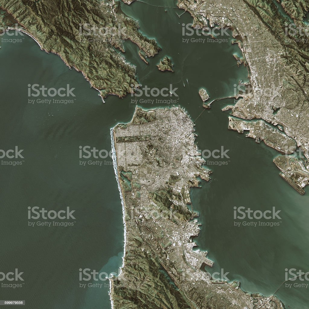 San Francisco Topographic Map Natural Color Top View stock photo