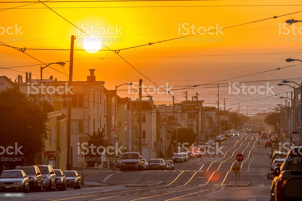 San Francisco toward the sea under Sunset stock photo