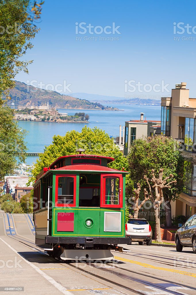 San Francisco tram and beautiful Hyde street stock photo