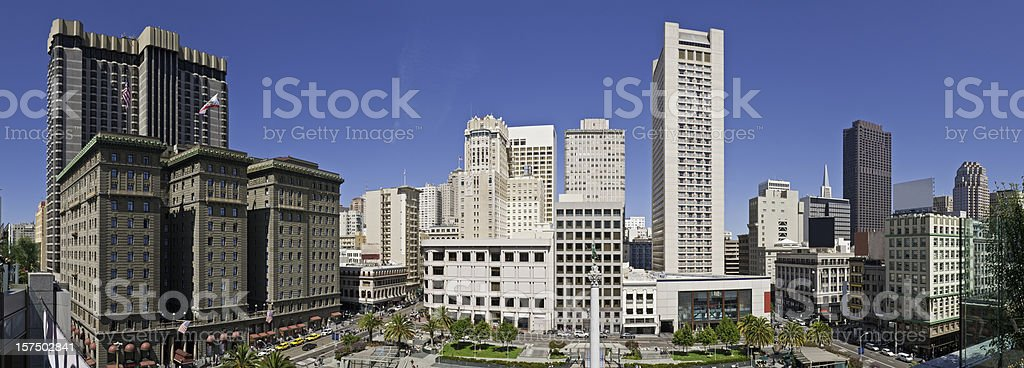 San Francisco Union Square downtown shopping cityscape panorama California stock photo