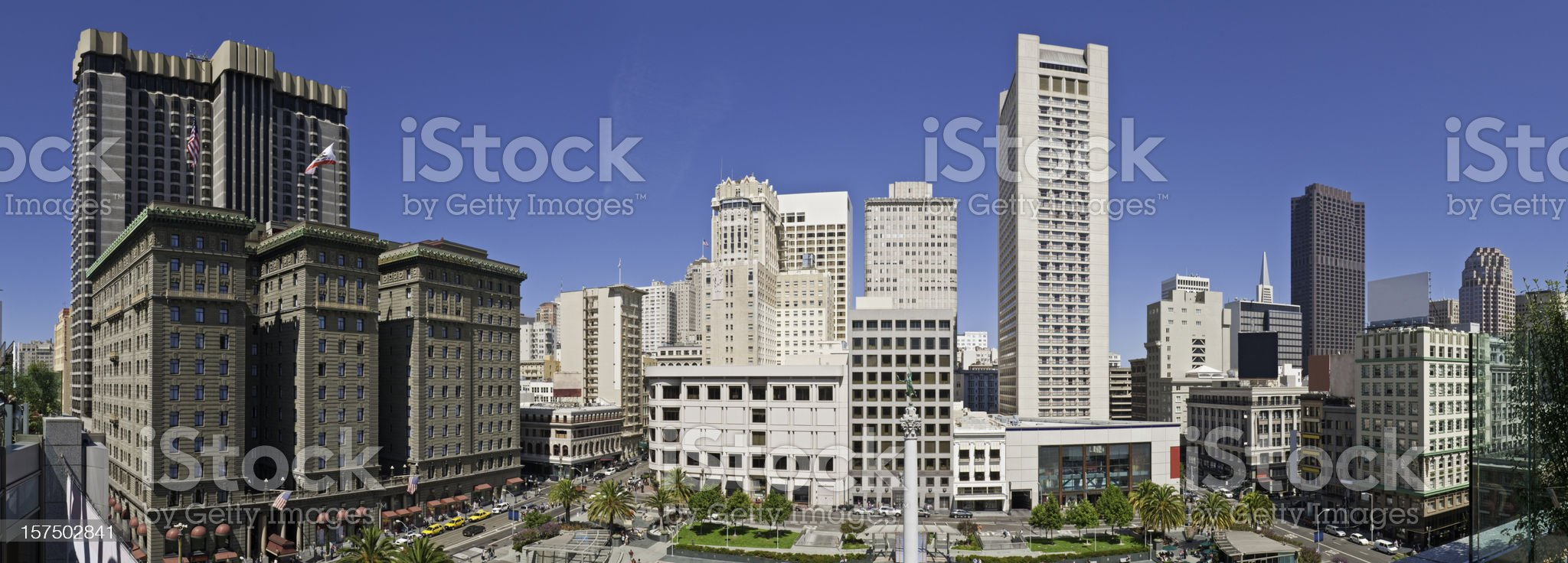 San Francisco Union Square downtown shopping cityscape panorama California royalty-free stock photo