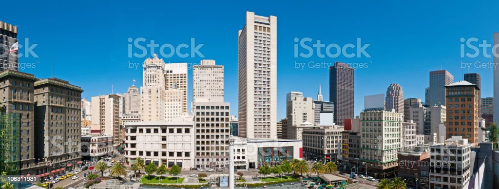 San Francisco Union Square downtown skyscrapers hotels stores panorama California stock photo