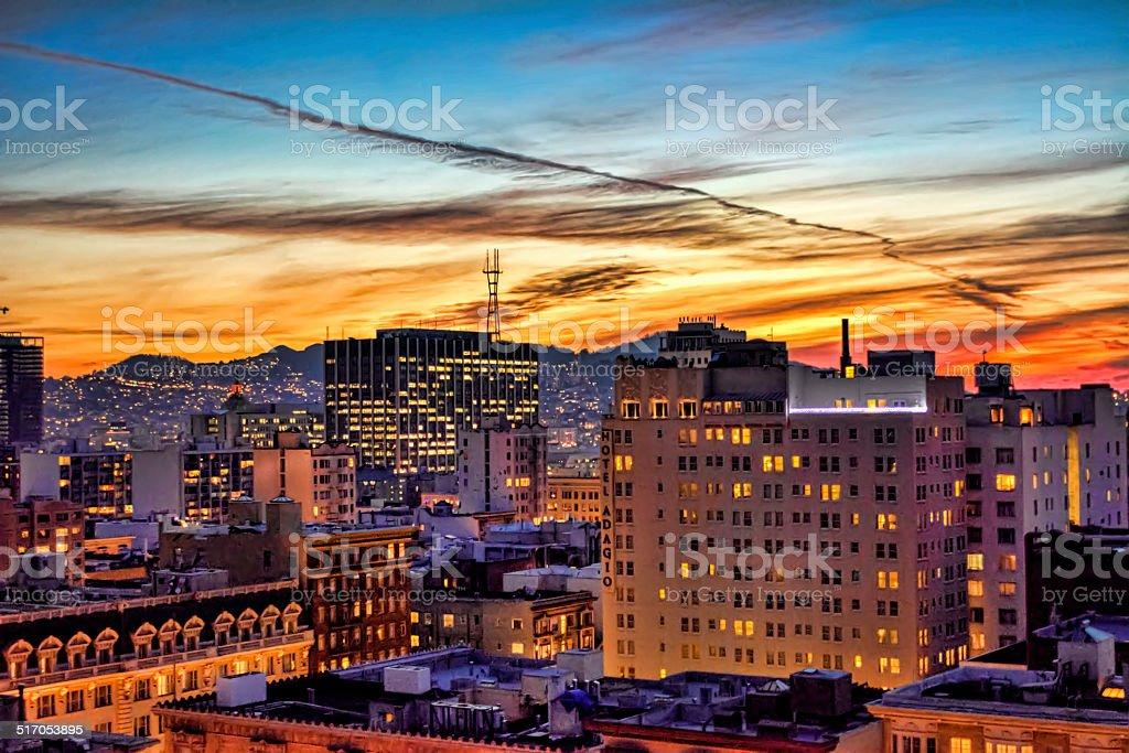 San Francisco Union Square Night Skyline stock photo