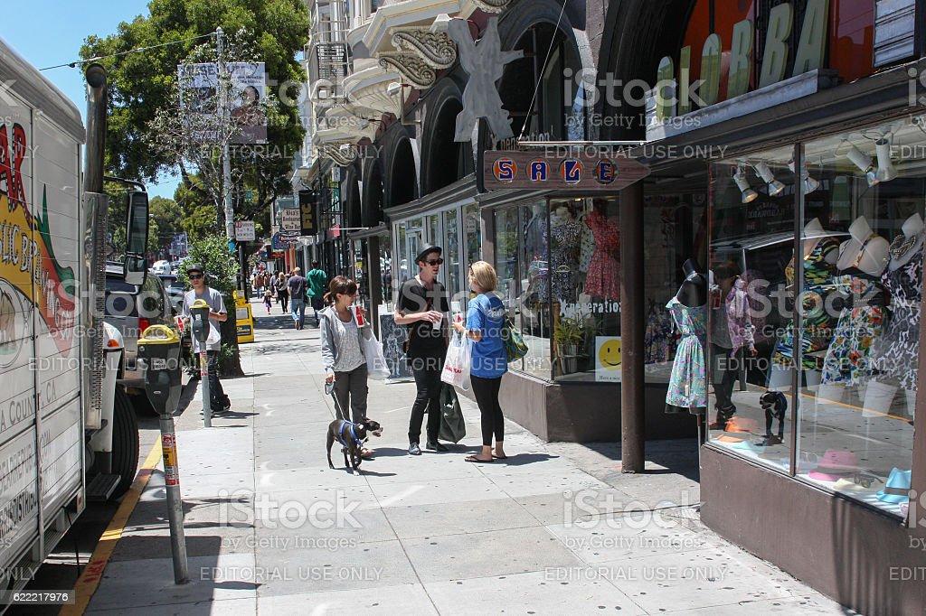 San Francisco, USA - 11 June 2010. Hippie talk on stock photo