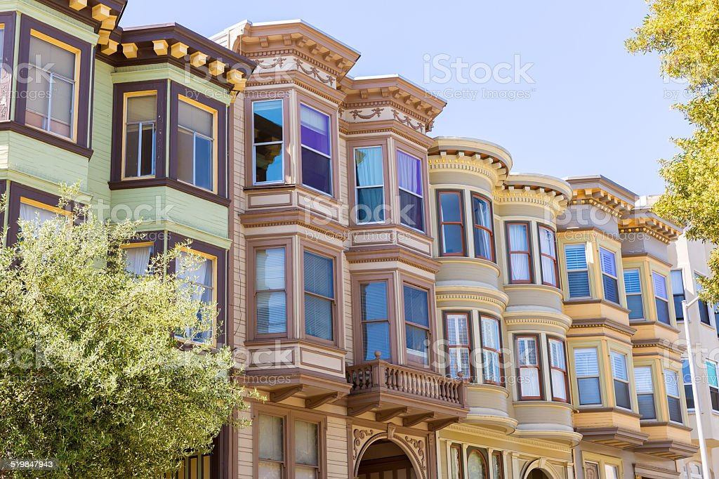 San Francisco Victorian houses California stock photo