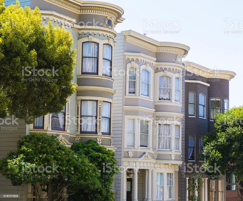 San Francisco Victorian houses in Pacific Heights California stock photo