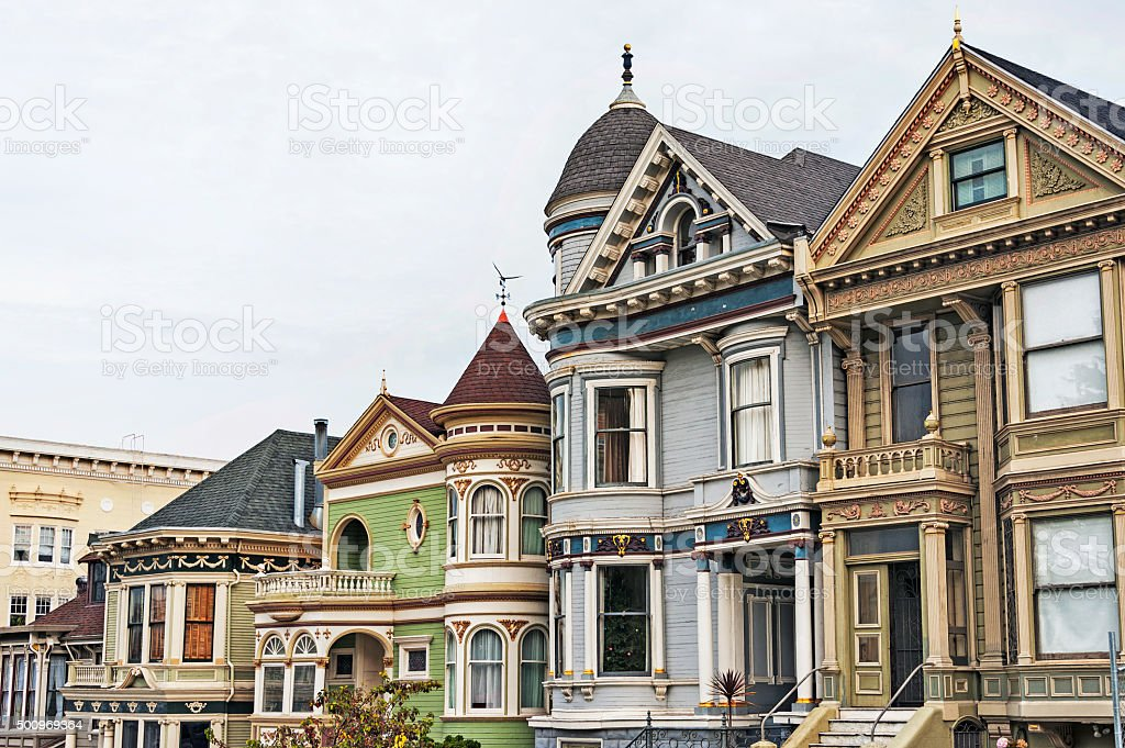 San Francisco Victorian Housing and Features stock photo