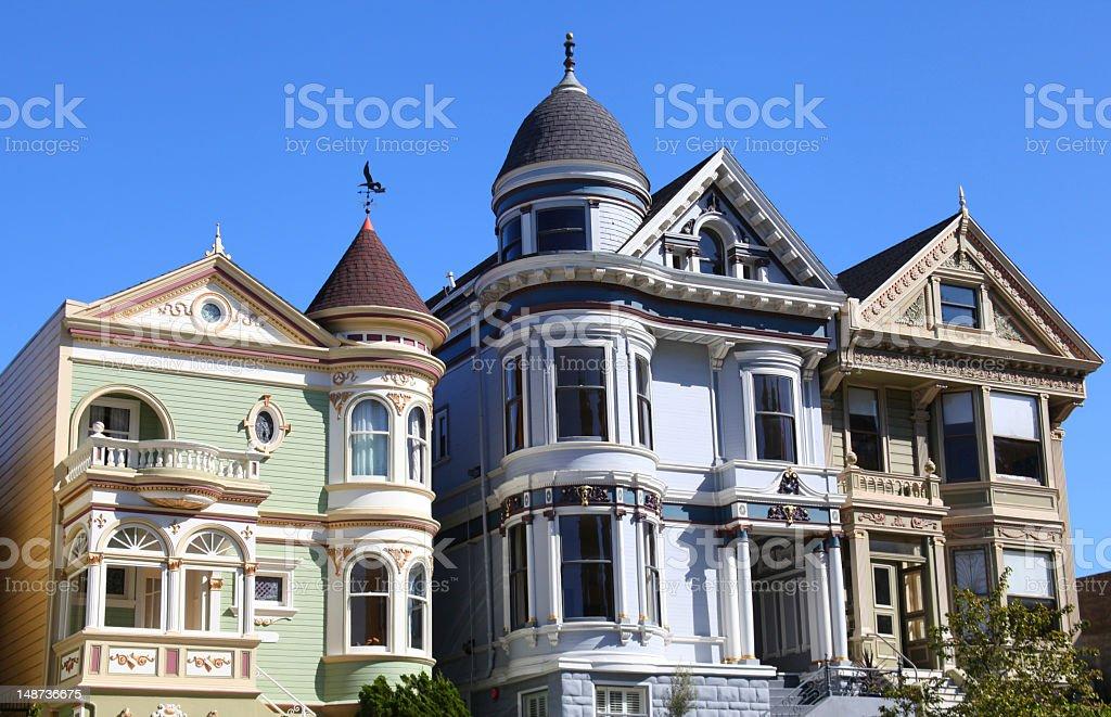 San Francisco Victorians in California, USA stock photo