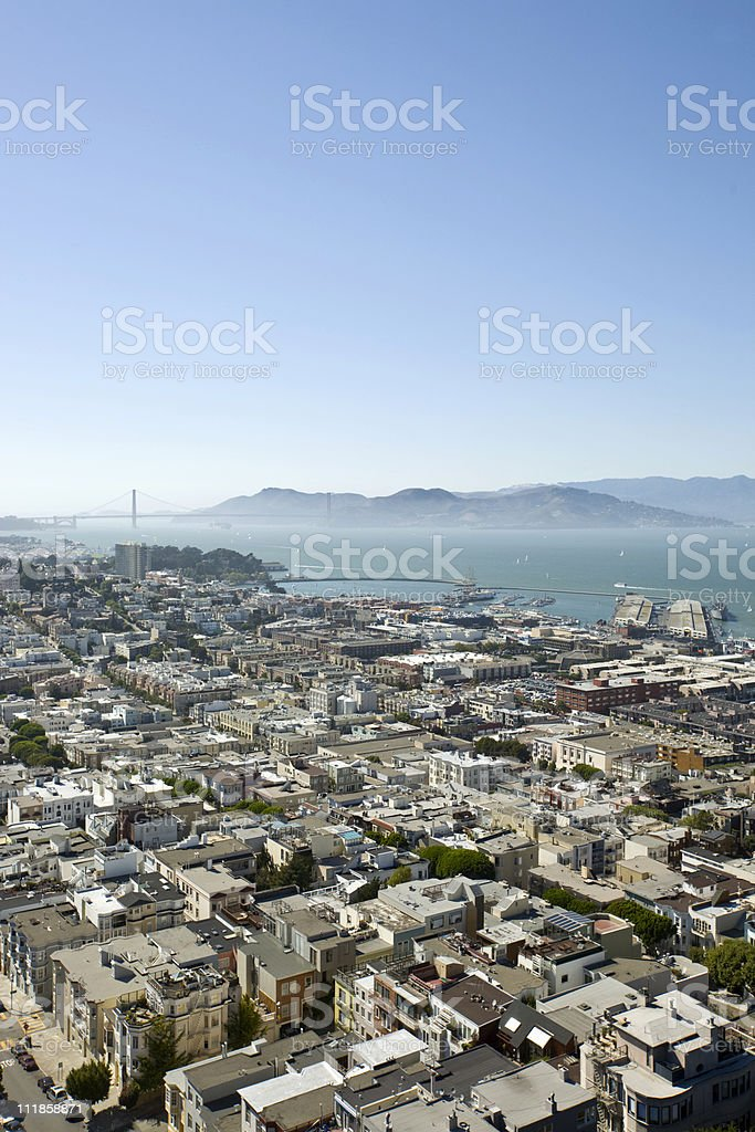 San Francisco viewed from the Coit Tower royalty-free stock photo