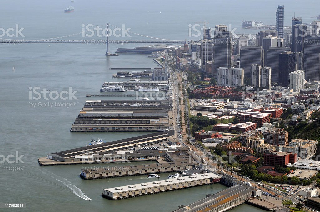 San Francisco waterfront aerial view stock photo