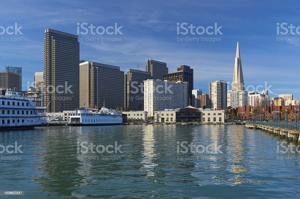 San Francisco waterfront skyline w/ water reflections royalty-free stock photo
