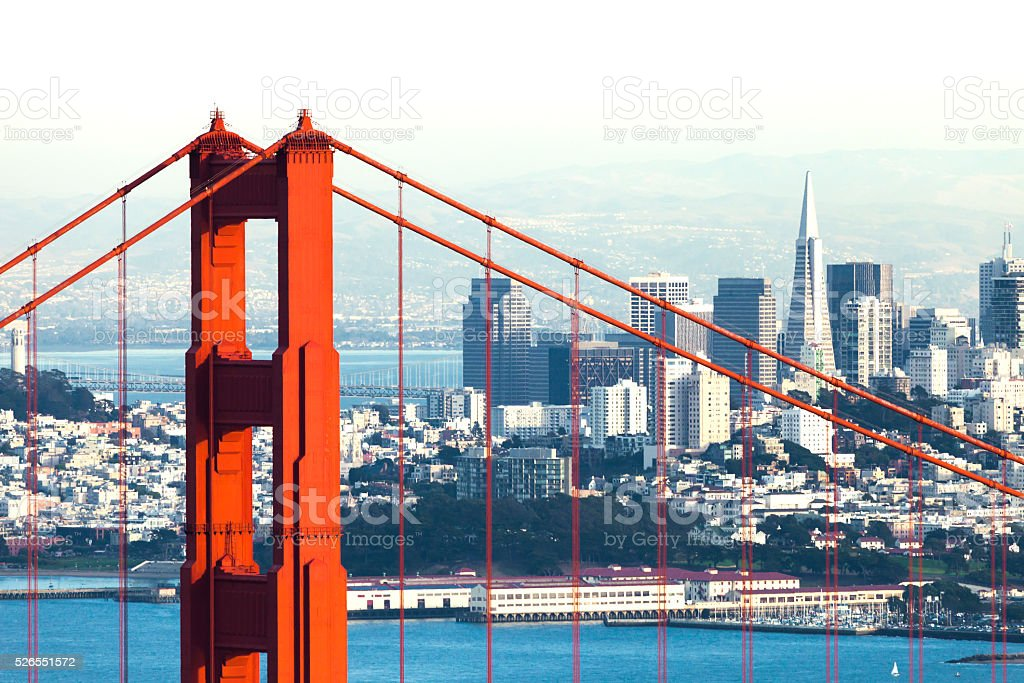 San Francisco with the Golden Gate bridge stock photo