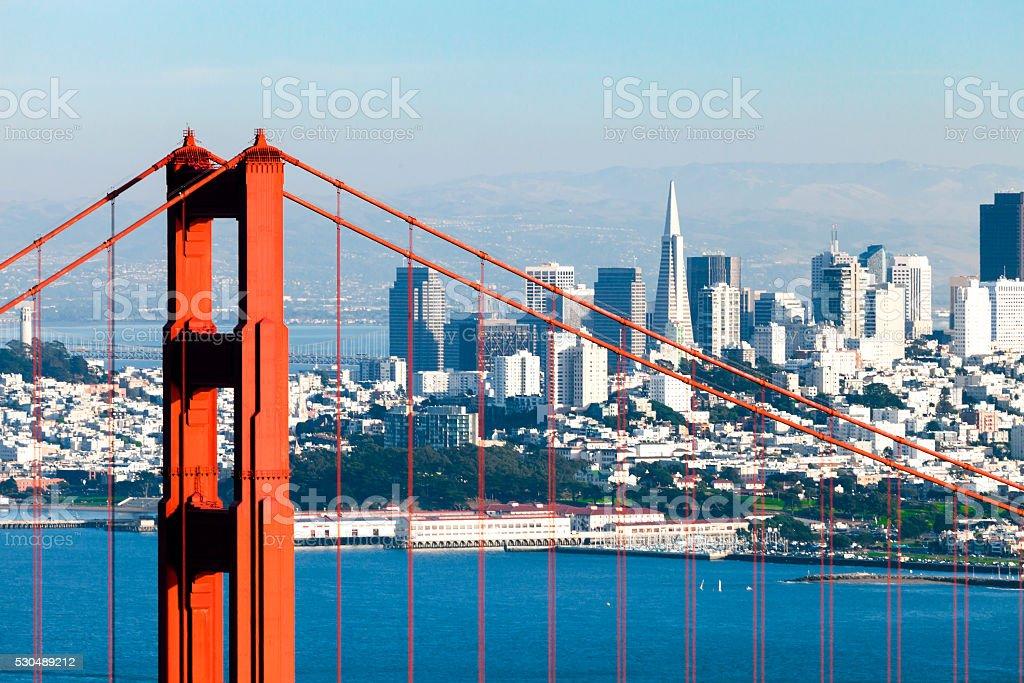 San Francisco with the Golden Gate bridge stock photo