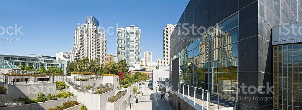 San Francisco Yerba Buena gardens downtown high rises panorama California stock photo