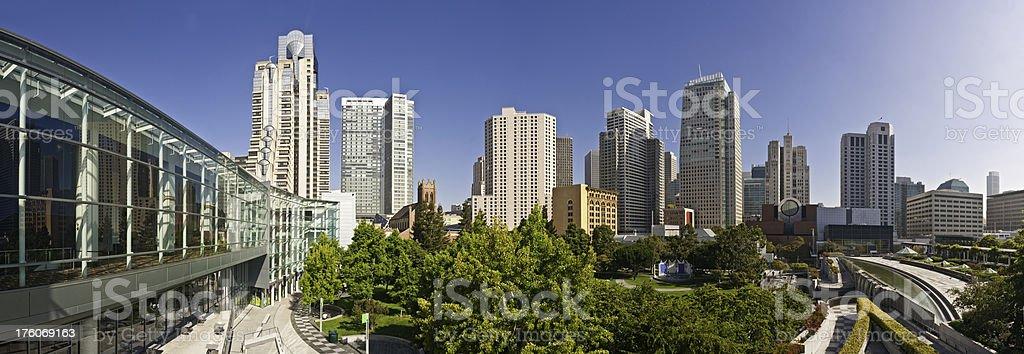 San Francisco Yerba Buena Gardens downtown landmarks cityscape panorama California stock photo