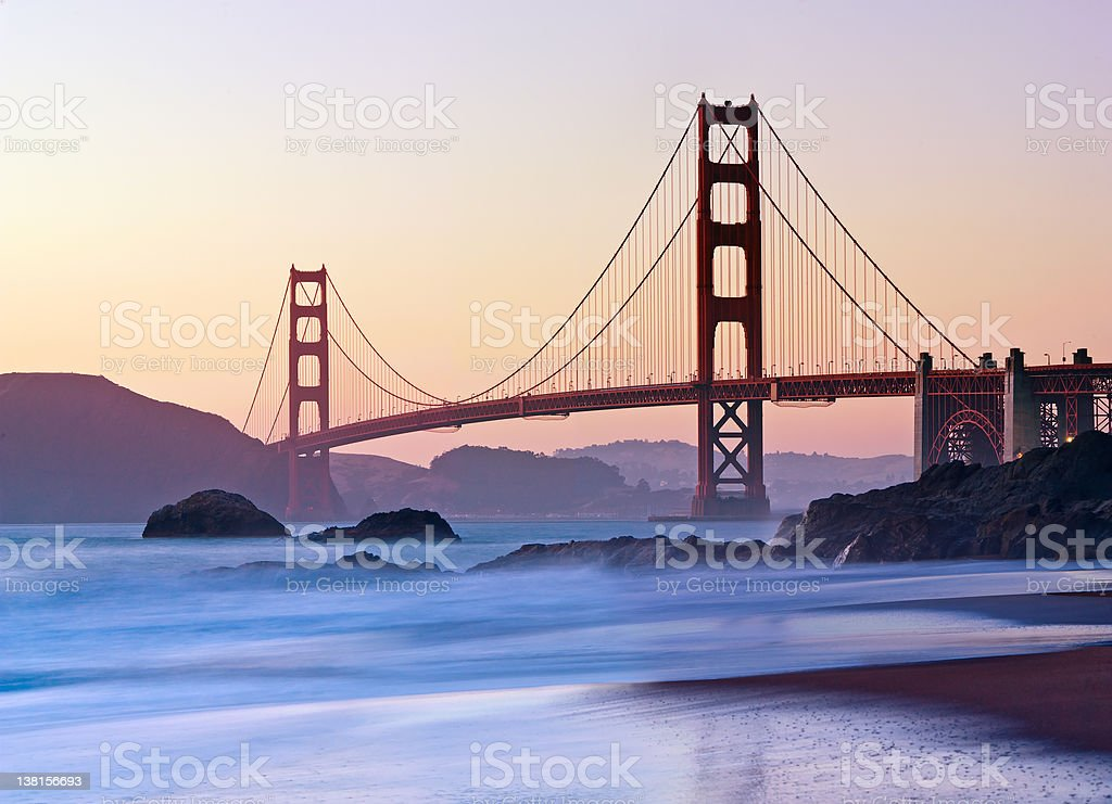 San Francisco's Golden Gate Bridge at Dusk royalty-free stock photo