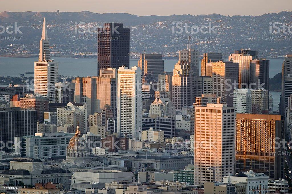 San Francisco's market street from Twin Peaks stock photo