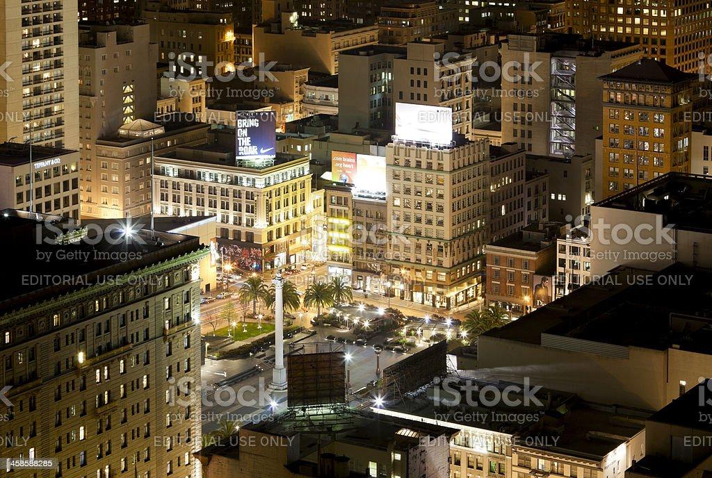 San Francisco's Union Square at Night stock photo