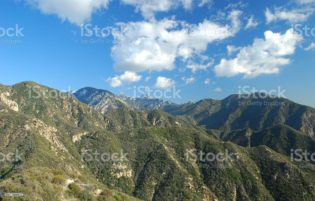San Gabriel Mountains from within, with clouds stock photo