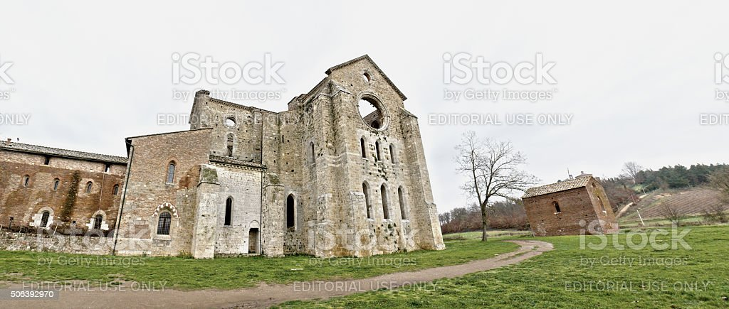 Siena, Italy - December 6, 2009: San Galgano Abbey stock photo