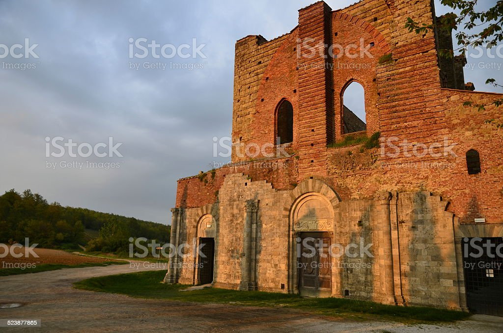 San Galgano Abbey ruin, Tuscanny stock photo
