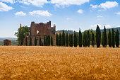 San Galgano abbey ruins in Tuscany, Italy