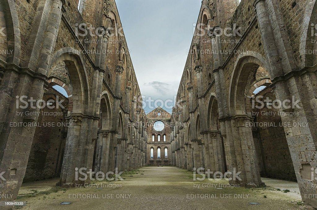 San Galgano Abbey ruins royalty-free stock photo