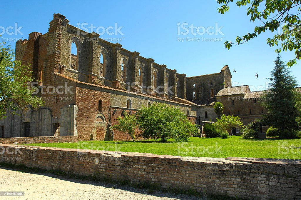 San Galgano abbey Tuscany Italy stock photo