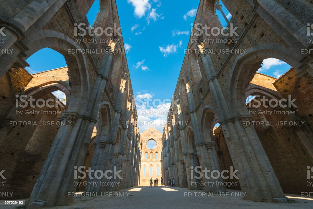 San Galgano, Italy - August 19/2012; Internal view of the ruins of Medieval Abbey near Siena stock photo